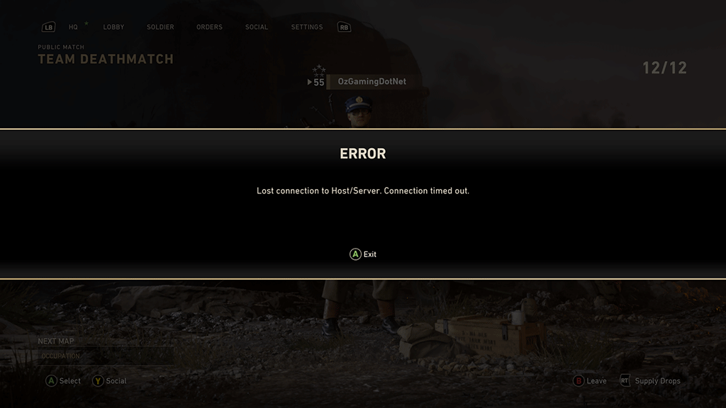 Call of Duty WWII Error